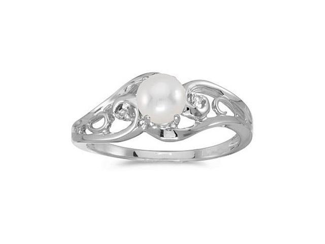 14k White Gold Freshwater Cultured Pearl And Diamond Ring (Size 5)