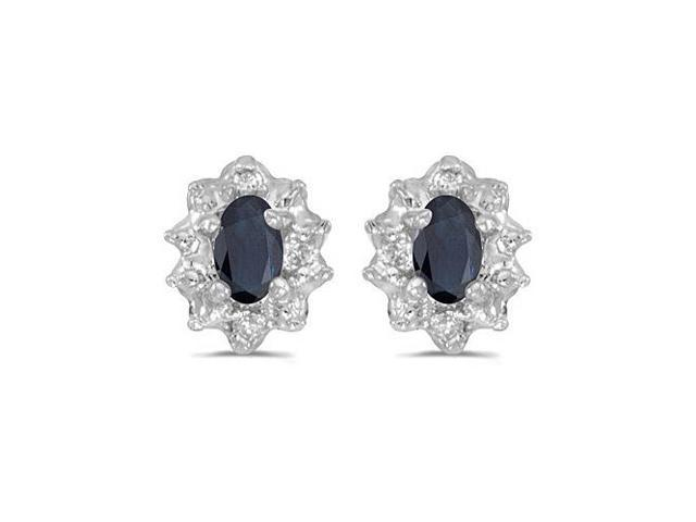 10k White Gold 5x3 mm Genuine Sapphire And Diamond Earrings