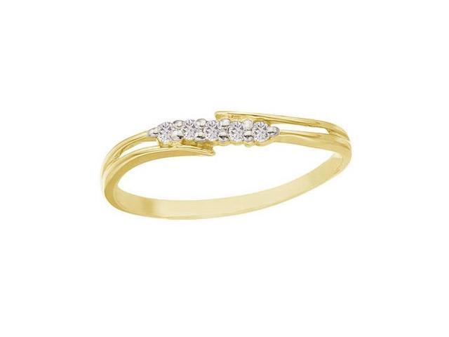 14K Yellow Gold and Diamond Bypass Promise Ring (Size 6.5)
