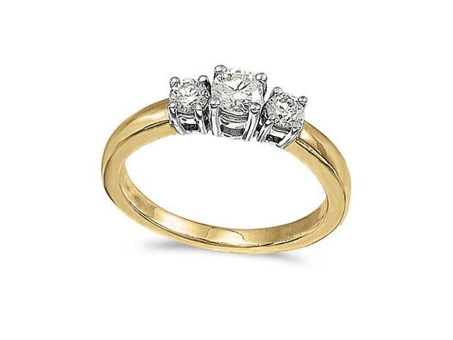 14k Yellow Gold 0.50 Ct Three Stone Diamond Ring (Size 4.5)