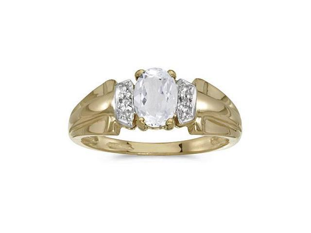 10k Yellow Gold Oval White Topaz And Diamond Ring (Size 6)