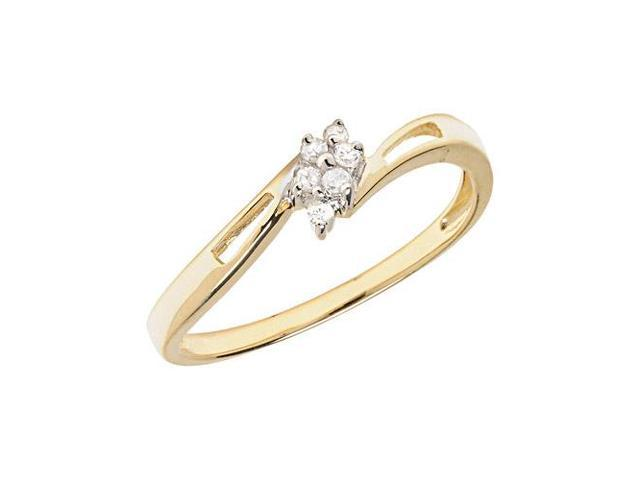 14K Yellow Gold Diamond Cluster Ring (Size 6)