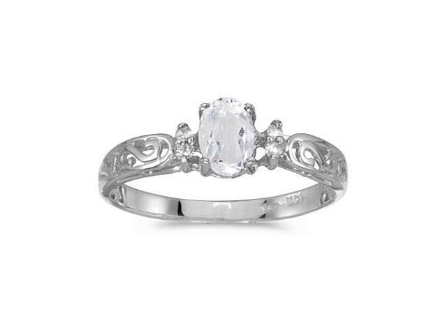 10k White Gold Oval White Topaz And Diamond Ring (Size 7)