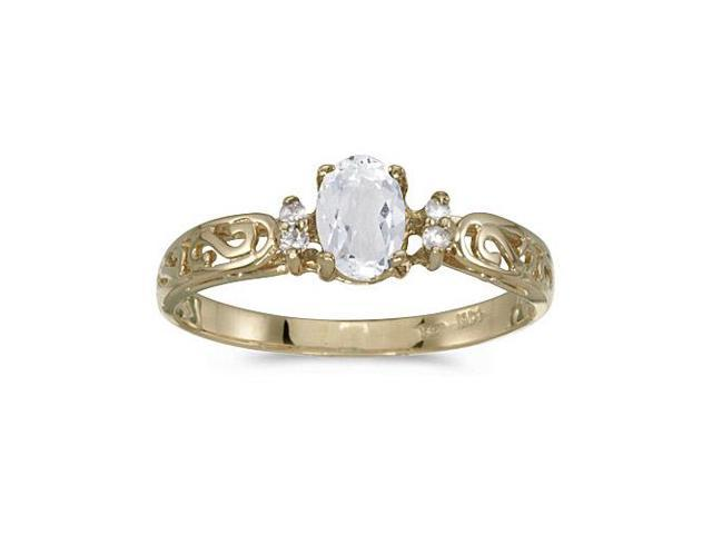 10k Yellow Gold Oval White Topaz And Diamond Ring (Size 5)