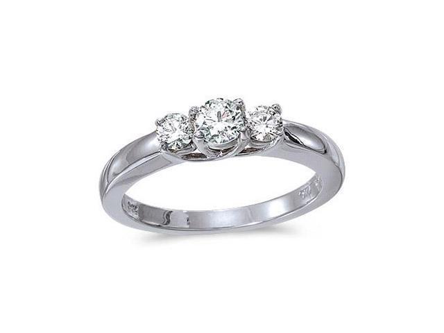 14k White Gold 0.25 Ct Three Stone Trellis Diamond Ring (Size 8)