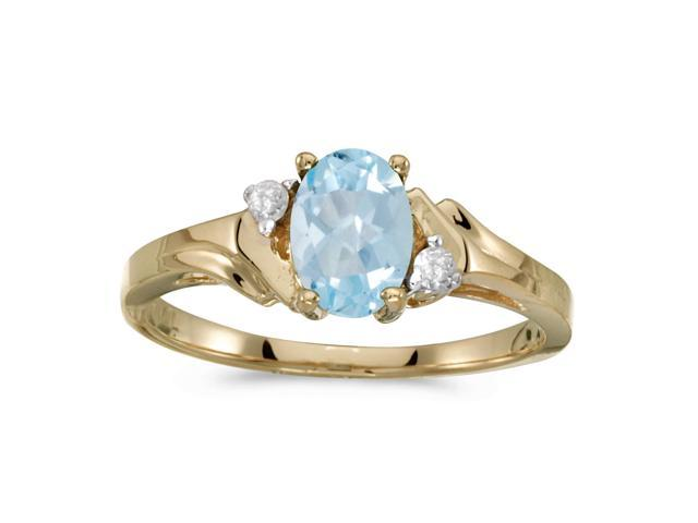 14k Yellow Gold Oval Aquamarine And Diamond Ring (Size 6.5)