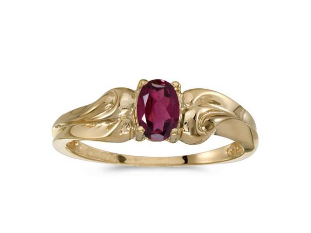 14k Yellow Gold Oval Rhodolite Garnet Ring (Size 6.5)