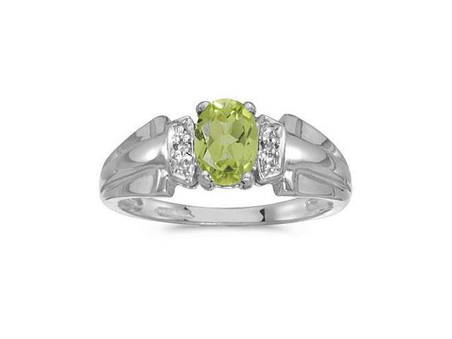 14k White Gold Oval Peridot And Diamond Ring (Size 10.5)