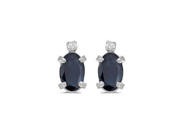 Sterling Silver Oval Sapphire and Diamond Earrings