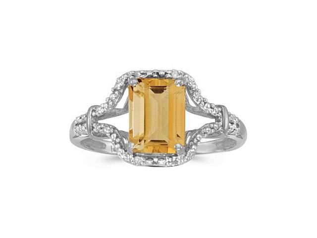 14k White Gold Emerald-cut Citrine And Diamond Ring (Size 5.5)