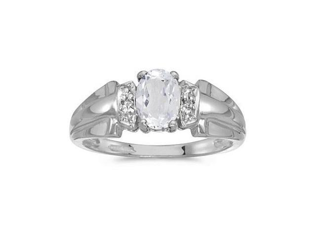 10k White Gold Oval White Topaz And Diamond Ring (Size 9.5)