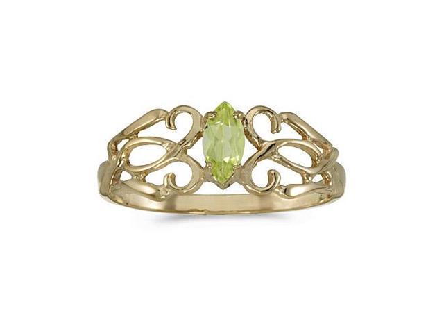 10k Yellow Gold Marquise Peridot Filagree Ring (Size 6)