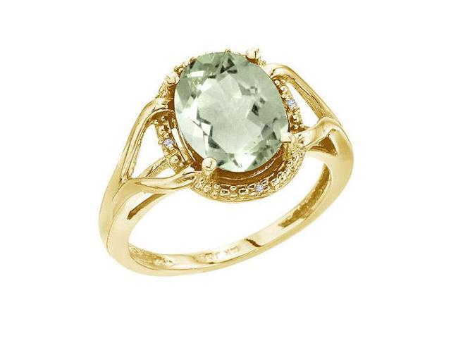 14K Yellow Gold 10x8 Oval Checkerboard Green Amethyst and Diamond Ring (Size 6.5)
