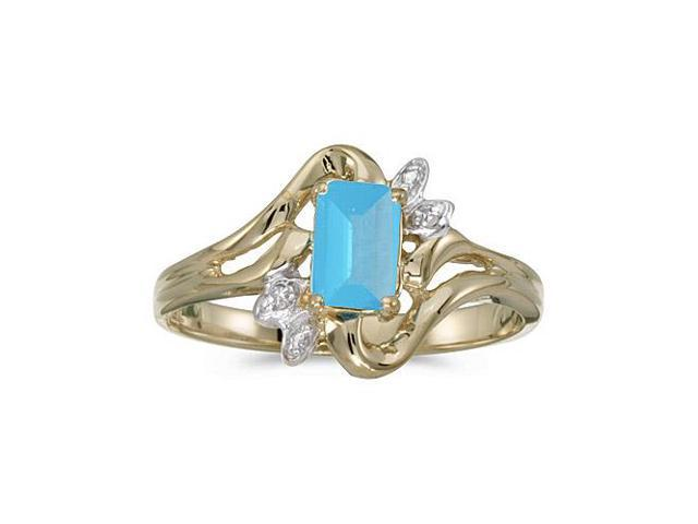 10k Yellow Gold Emerald-cut Blue Topaz And Diamond Ring (Size 8.5)