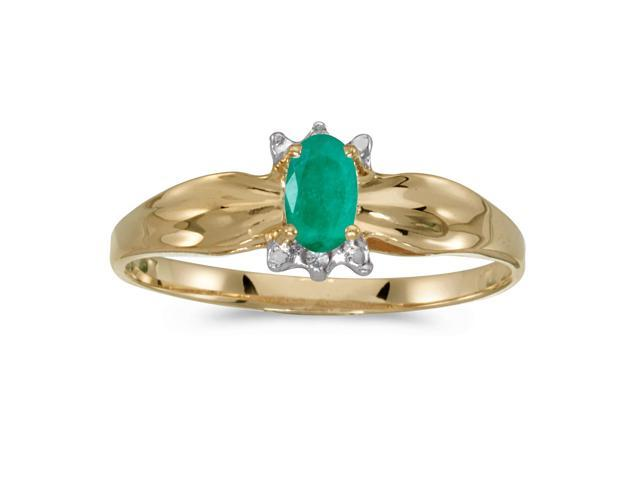 10k Yellow Gold Oval Emerald And Diamond Ring (Size 6)