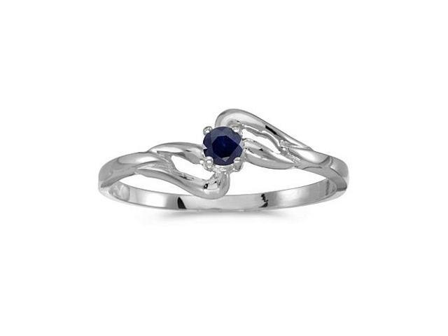 14k White Gold Round Sapphire Ring (Size 5.5)