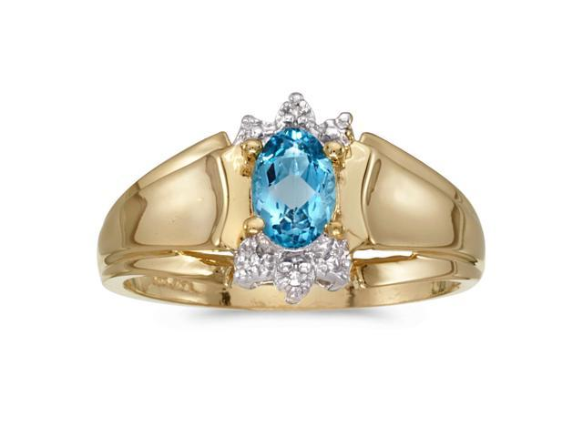 14k Yellow Gold Oval Blue Topaz And Diamond Ring (Size 7)
