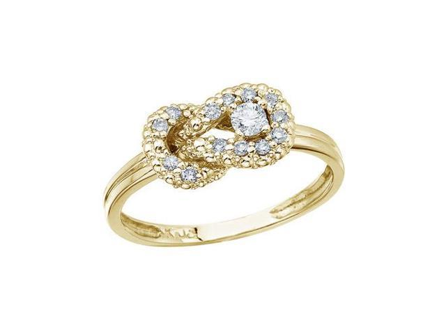 14K Yellow Gold Fashion Knot Diamond Ring (Size 7.5)