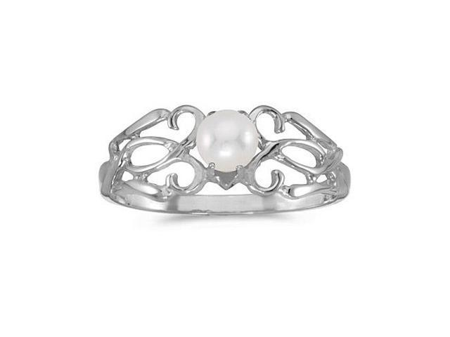 10k White Gold Freshwater Cultured Pearl Filagree Ring (Size 6)