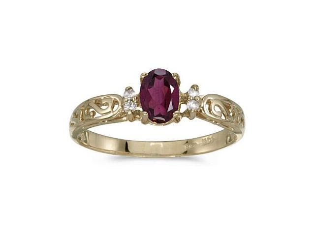 10k Yellow Gold Oval Rhodolite Garnet And Diamond Ring (Size 7)