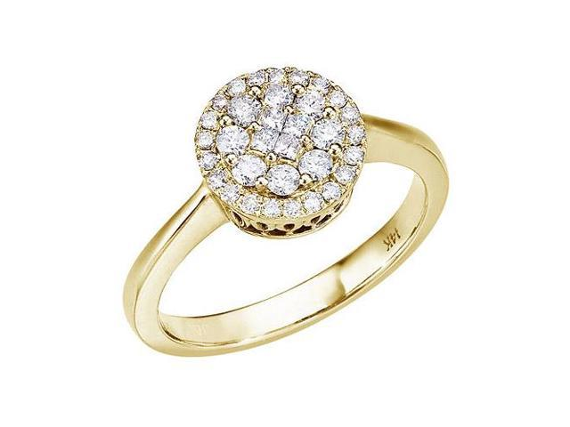 14K Yellow Gold .50 Ct Diamond Cluster Ring (Size 6)