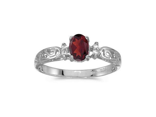 10k White Gold Oval Garnet And Diamond Ring (Size 5.5)