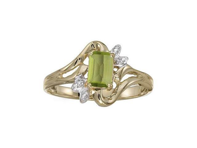 14k Yellow Gold Emerald-cut Peridot And Diamond Ring (Size 6)