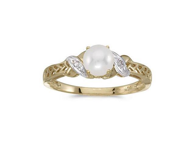10k Yellow Gold Freshwater Cultured Pearl And Diamond Ring (Size 8.5)