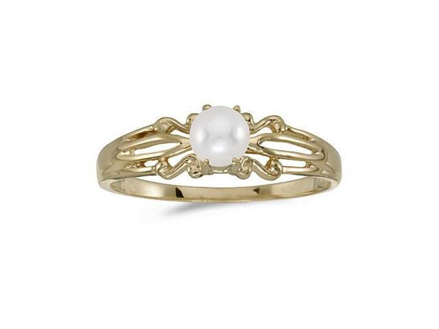 10k Yellow Gold Freshwater Cultured Pearl Ring (Size 9)