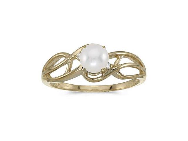 10k Yellow Gold Freshwater Cultured Pearl And Diamond Curve Ring (Size 5.5)