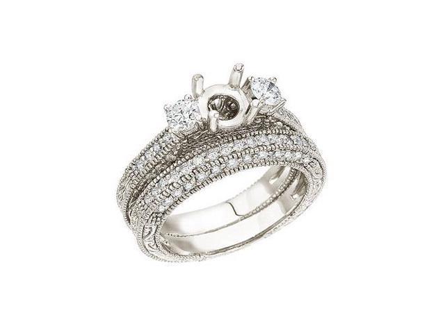 14K White Gold 1 Ct Bridal Fashion Diamond Ring Set (Size 9)