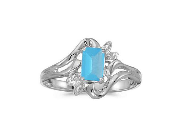 10k White Gold Emerald-cut Blue Topaz And Diamond Ring (Size 6)