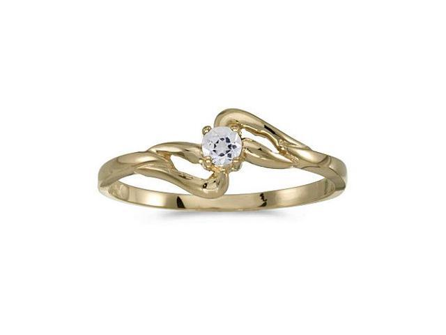 10k Yellow Gold Round White Topaz Ring (Size 7.5)