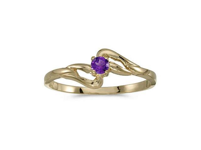10k Yellow Gold Round Amethyst Ring (Size 6)