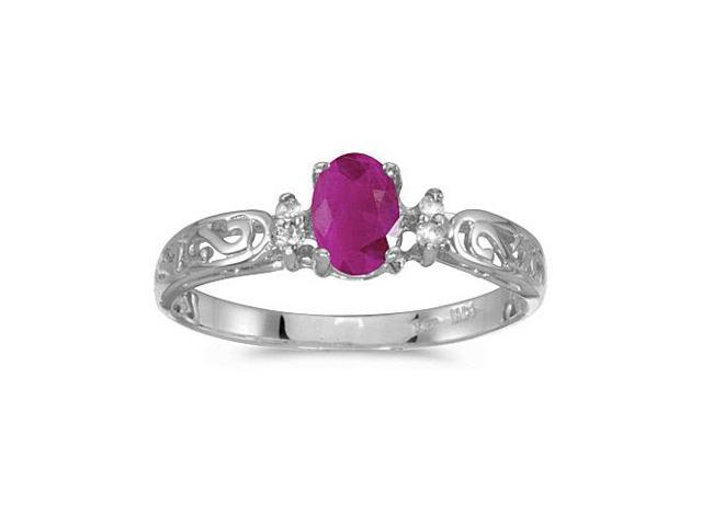 10k White Gold Oval Ruby And Diamond Ring (Size 4.5)