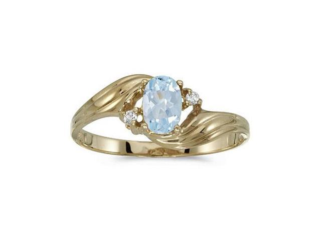 10k Yellow Gold Oval Aquamarine And Diamond Ring (Size 5.5)