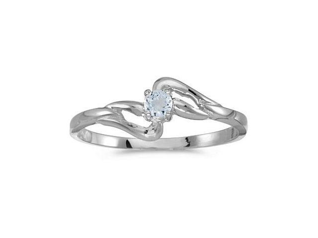 10k White Gold Round Aquamarine Ring (Size 8.5)