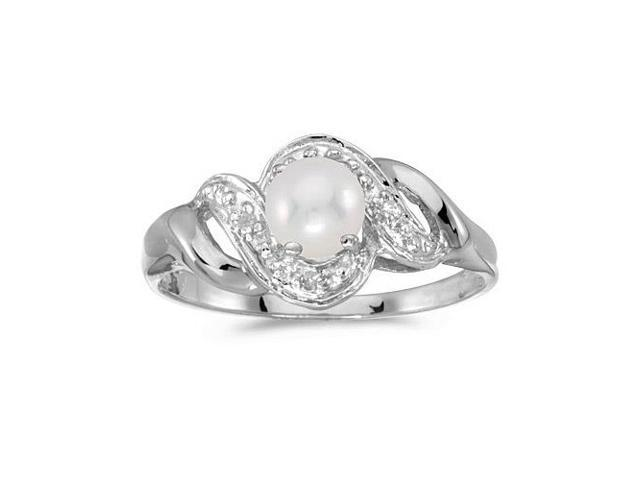 10k White Gold Pearl And Diamond Swirl Ring (Size 7)
