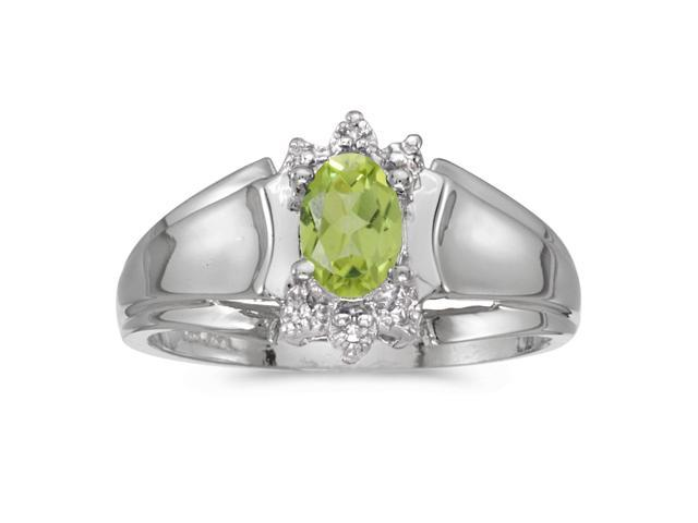 14k White Gold Oval Peridot And Diamond Ring (Size 5)