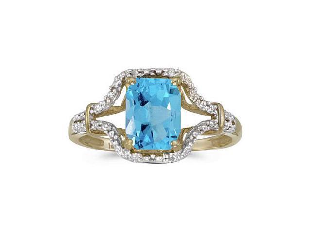 10k Yellow Gold Emerald-cut Blue Topaz And Diamond Ring (Size 9)
