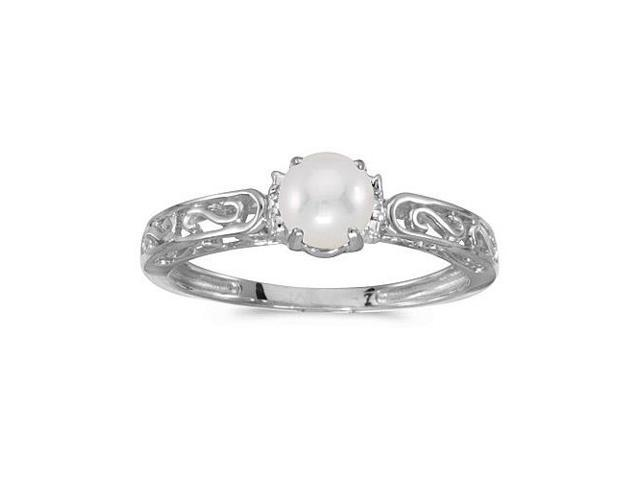 14k White Gold Freshwater Cultured Pearl And Diamond Ring (Size 4.5)