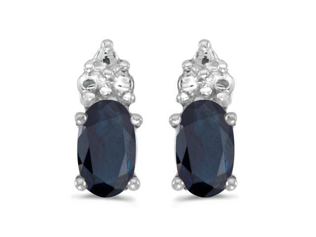 14k White Gold Oval Sapphire Earrings