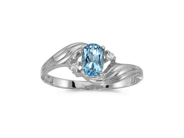 10k White Gold Oval Blue Topaz And Diamond Ring (Size 7)
