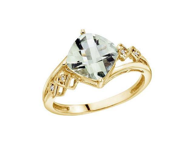 14K Yellow Gold 8 mm Cushion Green Amethyst and Diamond Ring (Size 10.5)