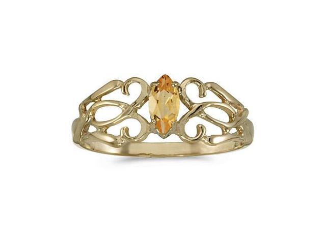 14k Yellow Gold Marquise Citrine Filagree Ring (Size 9)