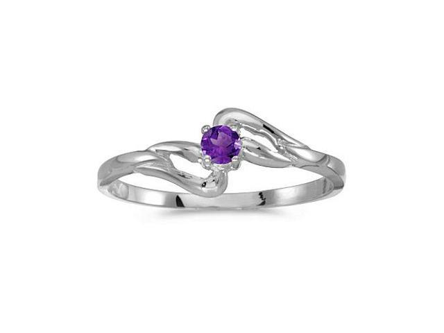 14k White Gold Round Amethyst Ring (Size 6)