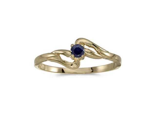14k Yellow Gold Round Sapphire Ring (Size 5.5)