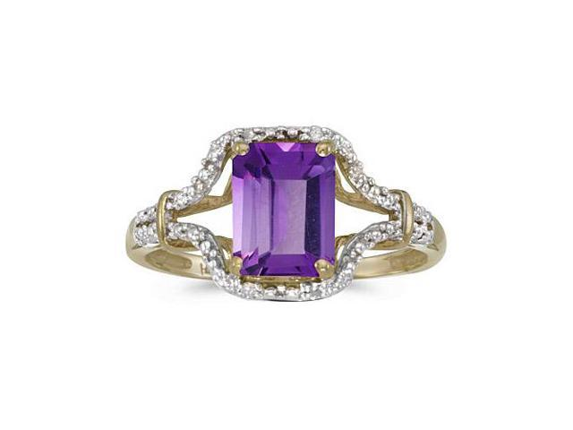 10k Yellow Gold Emerald-cut Amethyst And Diamond Ring (Size 6.5)