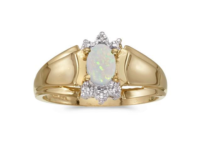 14k Yellow Gold Oval Opal And Diamond Ring (Size 8.5)