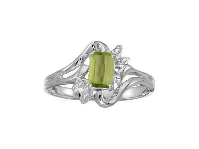 14k White Gold Emerald-cut Peridot And Diamond Ring (Size 10)